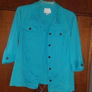 EUC Beautiful Teal Blue Jacket size 1X